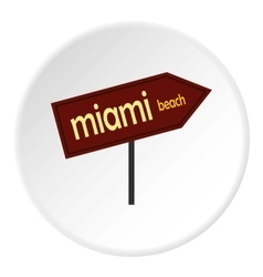Sign miami beach icon flat style vector