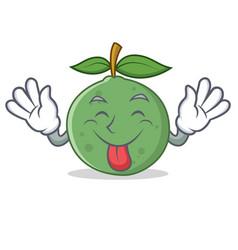 tongue out guava mascot cartoon style vector image