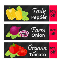 vegetables sale - organic vegetarian nutrition vector image