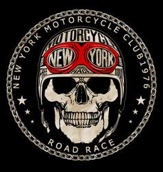 vintage biker skull emblem tee graphic vector image vector image