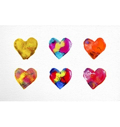 Watercolor heart love set vector