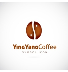 Ying yang coffee grain concept symbol icon or logo vector