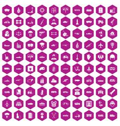 100 burden icons hexagon violet vector