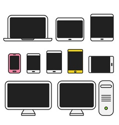 Different media devices collection flat design vector