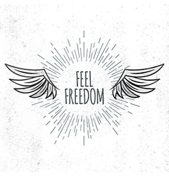 Feel freedom lettering vector
