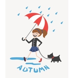 Happy autumn girl with umbrella and dog vector image