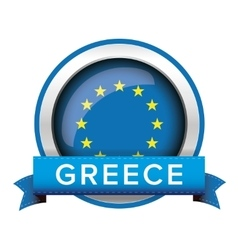 Eu flag button with greece ribbon vector