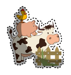 Animal farm in field vector
