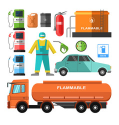 Filling station template with necessary equipments vector