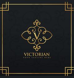 elegant floral style premium logo for letter v vector image