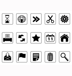 Black toolbar and interface icons buttons vector