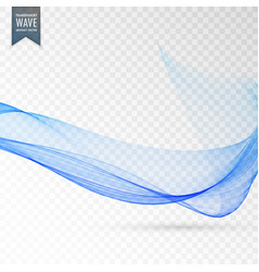 Smooth abstract wave blue transparent background vector
