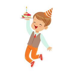 Adorable little boy in elegant clothes and red vector
