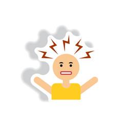 Stylish icon in label tag sticky man headache vector