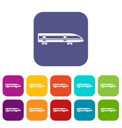 Modern high speed train icons set vector
