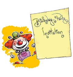 Clown holding invitation birthday party vector