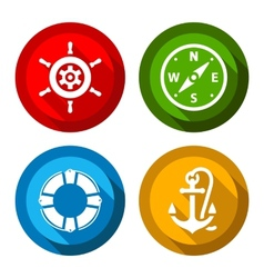 Set of travel flat color buttons vector