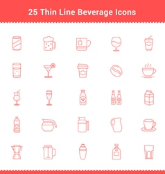 Set of Thin Line Stroke Beverage Icon vector image