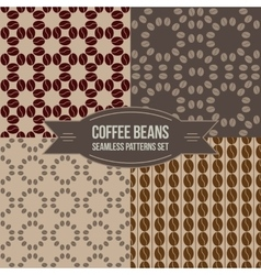 Coffee beans seamless patterns set vector
