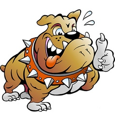 Cartoon of an excited strong muscular bull dog vector