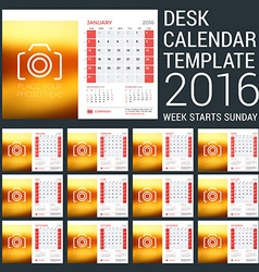 Calendar set for 2016 year stationery design print vector