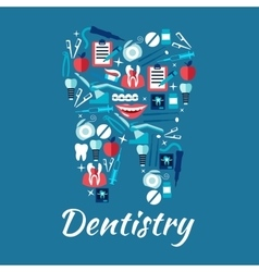 Healthy tooth symbol with dentistry flat icons vector