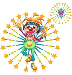 A firework display with a clown vector image