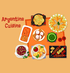 Argentine cuisine icon with traditional food vector