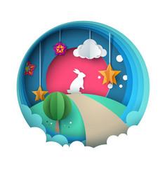 cartoon paper landscape rabbit vector image vector image