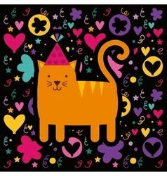 Cat birthday card icon vector