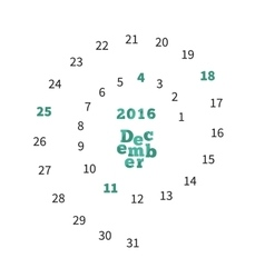 Creative calendar for December 2016 with dates on vector image