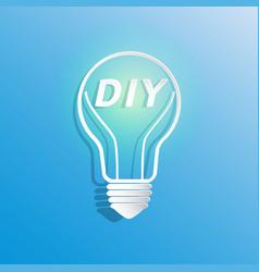 Diy in light bulb shape vector