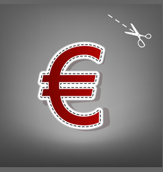 Euro sign red icon with for applique from vector