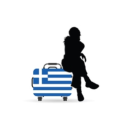 Girl siting on travel bag with greece flag vector