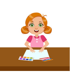 Girl with paper paint and brush elementary vector