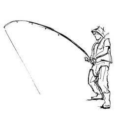 Hand pen sketch fishermen vector image