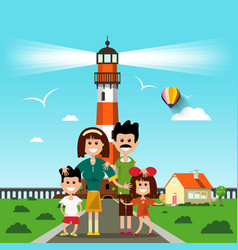 happy family with lighthouse on background vector image vector image