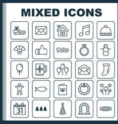 Holiday icons set collection of fireplace vector