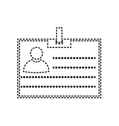 Id card sign black dashed icon on white vector