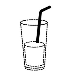 juice in cup glass and straw vector image