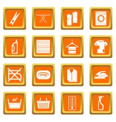 laundry icons set orange vector image vector image