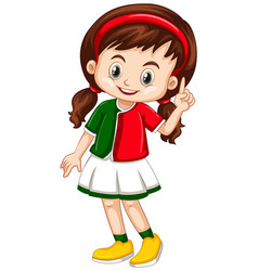 little girl in green and red shirt vector image vector image