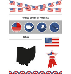 Map of ohio set of flat design icons nfographics vector