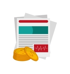 Medical history and money coin icon vector
