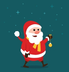 Merry little santa claus in the starry night vector