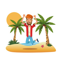 Portrait man on the beach jump happy design vector