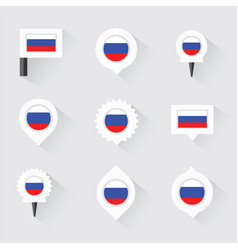 Russia flag and pins for infographic and map vector