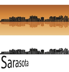 Sarasota skyline in orange vector image