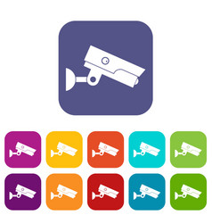 security camera icons set flat vector image vector image