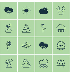 Set of 16 nature icons includes sprout raindrop vector